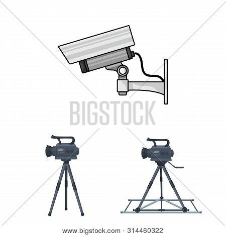 Isolated Object Of Camcorder And Camera Symbol. Collection Of Camcorder And Dashboard Bitmap Icon Fo