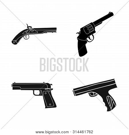 Isolated object of revolver and pistol symbol. Set of revolver and trigger bitmap icon for stock. poster