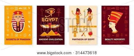 Ancient Egypt Civilization Symbols Culture 4 Vertical Banners Set With Pantheon Pharaoh Secrets Nefe