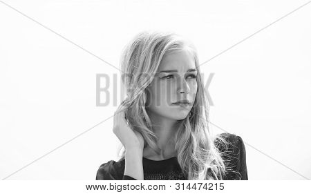 How To Take Care Of Bleached Hair. Girl Tender Blonde Makeup Face Sky Background. How To Repair Blea