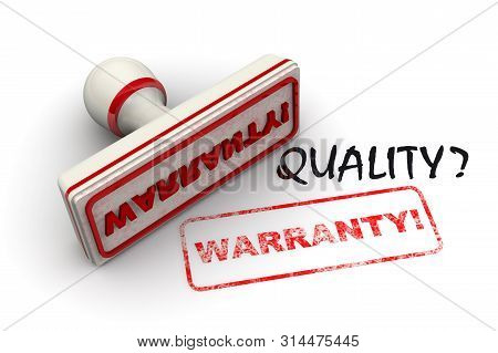 Quality Warranty. Seal And Imprint. Black Word Quality? And Red Rubber Stamp And Print With Word War