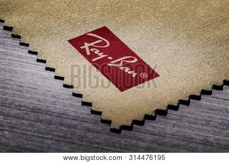 Siofok / Hungary - July 8, 2019: Textured Commercial Brand Logo Of Ray-ban Sunglasses On Official Wi