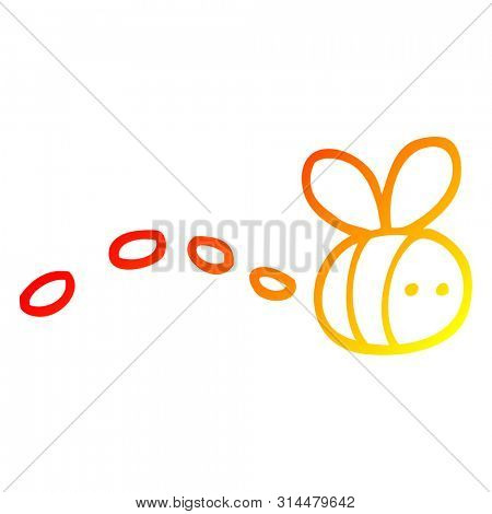 warm gradient line drawing of a cartoon buzzing bee