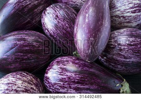 Background Of Fresh Eggplant. Aubergine Vegetable. Purple Eggplant (aubergine). Top View. Purple Foo