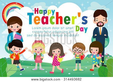 Happy Teacher`s Day Poster Concept, World Teachers Day Flat Vector Banner Template, Teachers And Pup