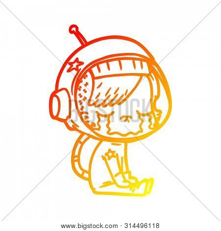 warm gradient line drawing of a cartoon crying astronaut girl sitting