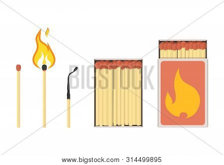 Set Of Mathces And Matchbox. Unused, Burning, Burnt Matchsticks And Opened Matchboxes. Vector Illust