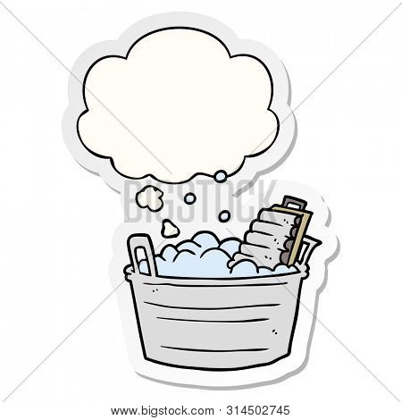 cartoon old washboard and bucket with thought bubble as a printed sticker