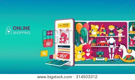 Online Shopping For Kids Toys With A Colorful Vector Design, Showing A Tablet Or Mobile Phone With C