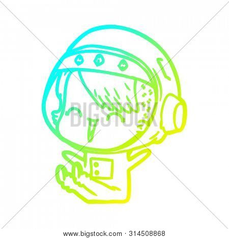 cold gradient line drawing of a happy cartoon space girl