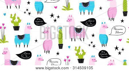 Lamas And Cacti Funny Animals Vector Seamless Pattern