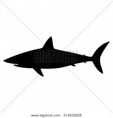 Black Silhouette Of A White Shark Icon.  White Shark Silhouette In Black, Isolated Vector Eps10. Bla