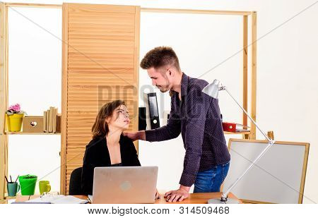 Woman Flirting With Guy Coworker. Woman Attractive Lady With Man Colleague. Office Collective Concep