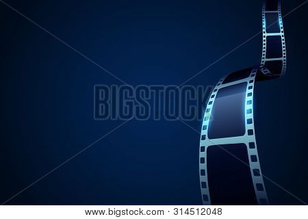 Film Strip Roll Poster. Movie Production With Realistic Blank Negative Film Frames For Your Element