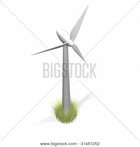 wind turbine and grass on white