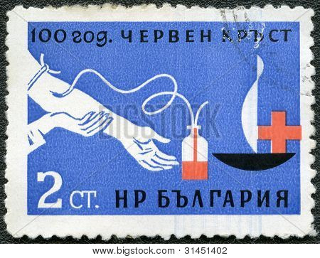 Bulgaria - Circa 1963: Devoted To 100 Anniversary Of The Red Cross, Shows Blood Transfusion
