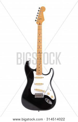A Vintage Black And White Electric Guitar Isolated On White With Clipping Path