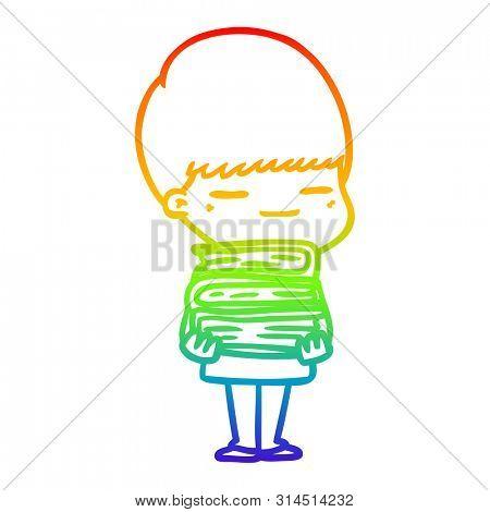 rainbow gradient line drawing of a cartoon smug boy