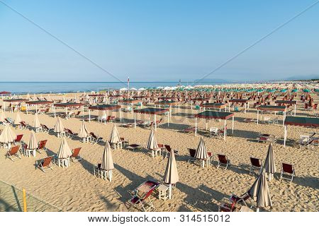View Of The Marina Di Pietrasanta Beach In The Early Morning In Versilia,  Italy.