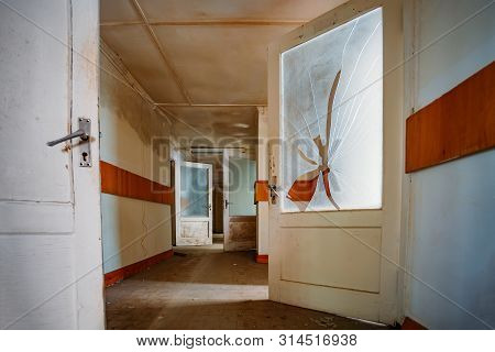 Corridor Of Old Abandoned Building (hospital, Sanatorium, Dorm, Etc.)