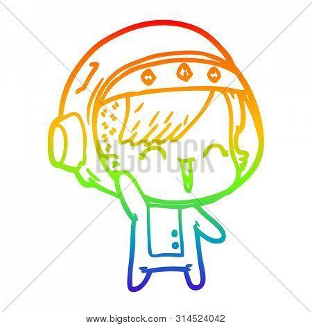 rainbow gradient line drawing of a cartoon happy astronaut girl waving