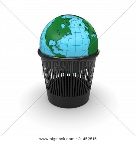Green Earth in the trash