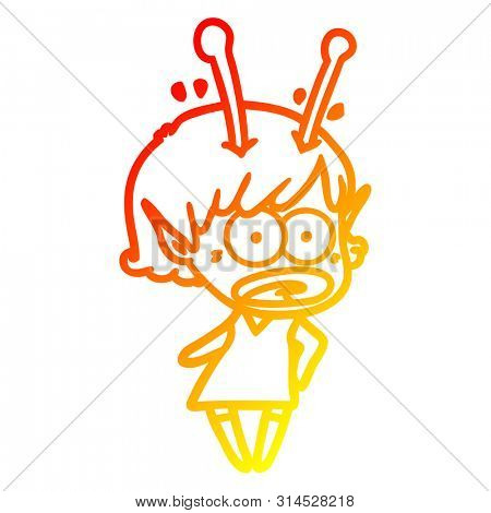 warm gradient line drawing of a cartoon shocked alien girl
