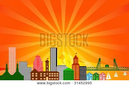 Portland City Oregon Skyline Panorama Color Silhouette with Sun Rays Clip Art Illustration poster