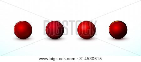Four Red sphere, balls. Set mock up of clean round the realistic object, orb icon. Design template decoration. Round geometric, circle figure simple. Isolated on white background, illustration.
