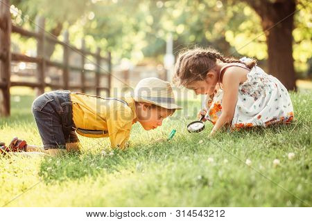 Cute Adorable Caucasian Girl And Boy Looking At Plants Grass In Park Through Magnifying Glass. Child