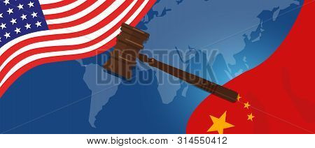 Law Legal Case Trade Tension Or Trade War Between Us And China, Financial Concept Flags Of Usa And C
