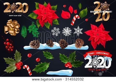 Christmas Decorations. Holly, Spruce, Red Berries, Christmas Bauble, Conifer Cone. Set Realistic Chr