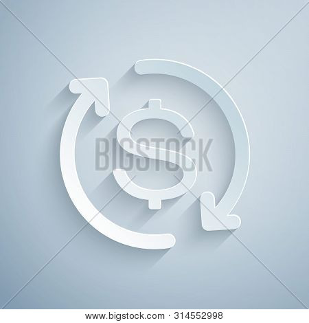 Paper Cut Return Of Investment Icon Isolated On Grey Background. Money Convert Icon. Refund Sign. Do