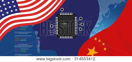 Artificial Intelligence Ai Neuralink Chip Digital Neural Engine. China And Usa Relations Concept. Fl