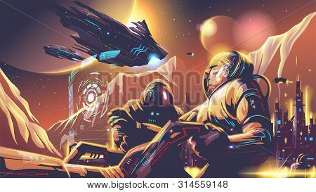 An Illustration Of Scifi Scene, Astronaut Fleet Are Exploring On A Far-away Planet In The Universe.