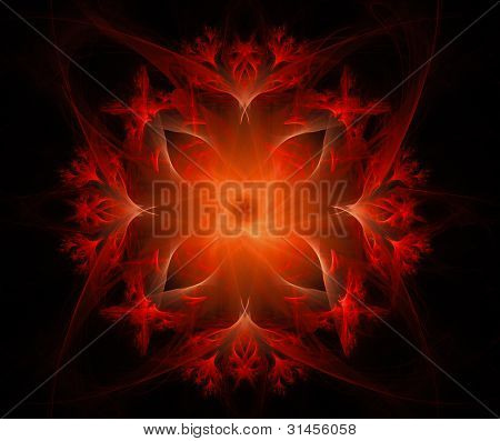 Abstract Red Glowing Floral Background