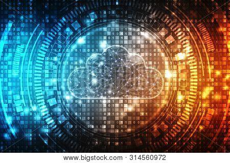 2d Illustration Of  Cloud Computing, Cloud Computing Concept, Cloud Computing Technology Internet Co