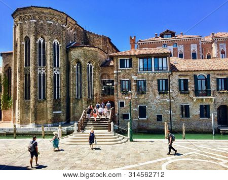 Venice, Italy - June 30th, 2019: Tourists Walking Outside The Peggy Guggenheim Museum In The Heart O