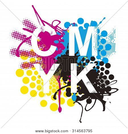 Cmyk Print Colors Expressive Background. Cmyk Cyan Magenta Yellow Black Inks And Sign Cmyk On White