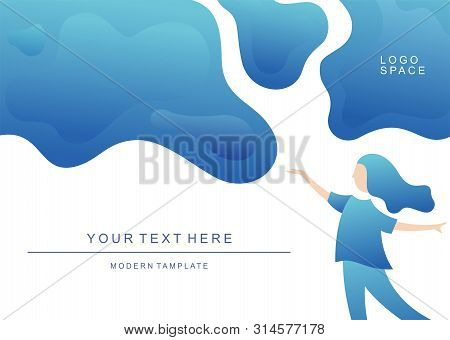 Abstract Blue Tamplate Background With Wave Gradations, Modern Texture Background, Color Gradations