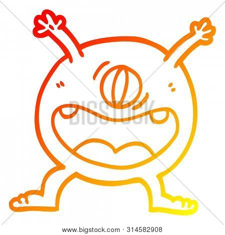 warm gradient line drawing of a cartoon monster