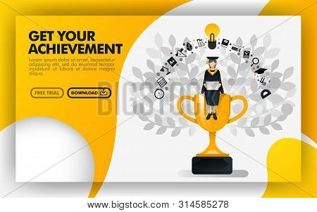 Vector Illustration. Yellow Website Banner About Get Your Achievement. Bachelor Sit On A Trophy Carr