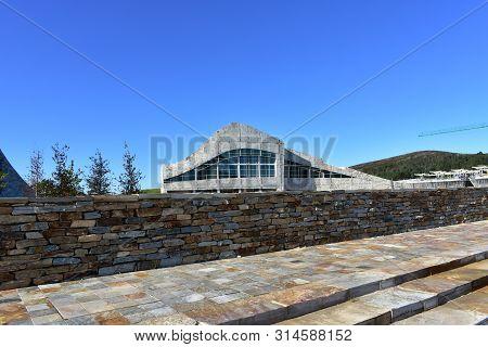 Santiago De Compostela, Spain. July 28, 2019. Cidade Da Cultura De Galicia Designed By Peter Eisenma