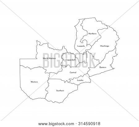 Vector Isolated Illustration Of Simplified Administrative Map Of Zambia. Borders And Names Of The Pr