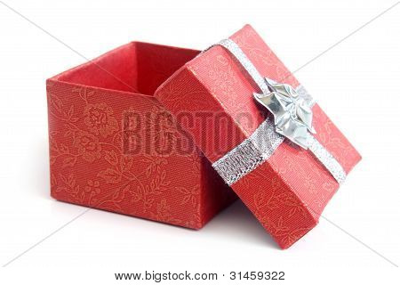 Open Red Gift Box With Silver Ribbon