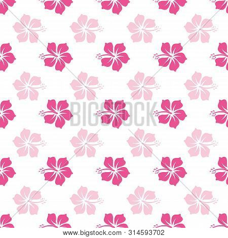 Vector Beautiful Pink Hibiscus Seamless Pattern Background