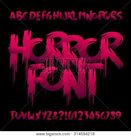 Horror Alphabet Font. Uppercase Handwritten Bloody Letters And Numbers. Stock Vector Typeface For Yo