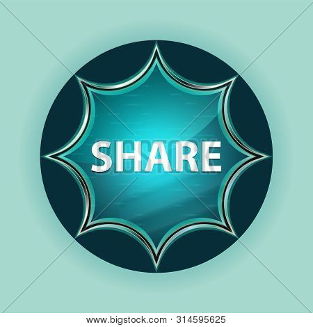 Share Isolated On Magical Glassy Sunburst Blue Button Sky Blue Background