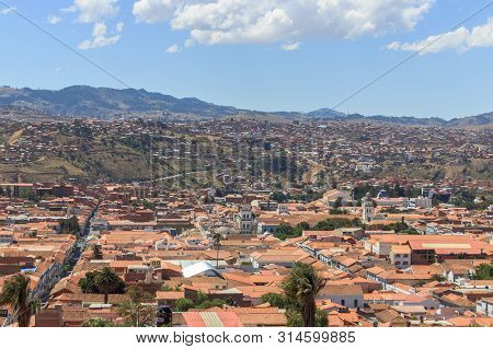 aerial panoramic view over the capital of bolivia sucre poster