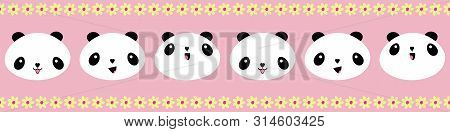Cute Kawaii Style Happy Pandas Border With Yellow Flower Edging. Seamless Geometric Vector Pattern O